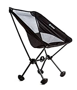 WildHorn Outfitters Terralite Portable Camp / Beach Chair (Supports 350 lbs) with TerraGrip Feet - Black