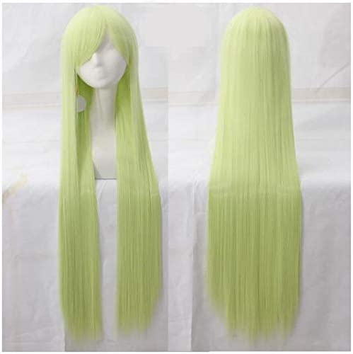 Lumanduo 100CM コスプレ ウィッグ ロング ストレート グリーン ウィッグ かつら レディース 万用型 長髪 ファッション Cosplay Wig 耐熱高品質 ネット付き (グリーンG)