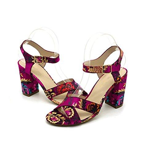 Cross ricamato spillo a Tacco Comodo con pink Retro QPYC Shoes Sandali Take tacco alto Tondo alto tacco Roman Buckle Belt wv6O5qE