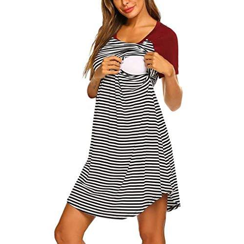 (Forthery Women's Maternity Sleepwear,Short Sleeve Stripe Maternity Nursing Dress Pregnancy Clothes for Breastfeeding(Red,XL))