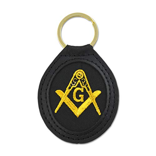 (Embroidered Gold Square & Compass Black Leather Masonic Key Chain - 3 5/8