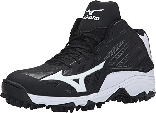 (Mizuno Men's 9 Spike Adv Erupt 3 Mid BK-WH-M, Black/White, 12 M US)