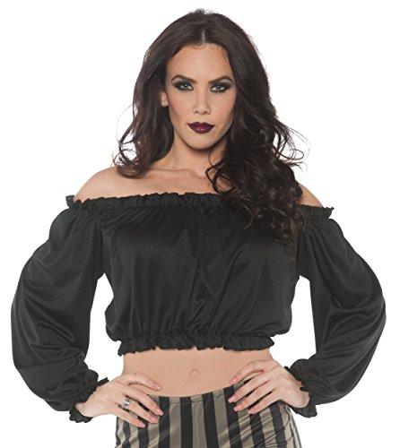 Women's Pirate Crop Top Blouse - Black, X-Large (Costumes For Renaissance Festival)