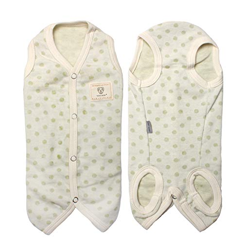 (TONY HOBY Dog Sleeveless Pajamas Dog Jumpsuit PJS Clothes with Green Cute Dots for Summer )