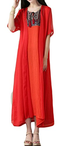 Two Embroidery Casual Pleated Swing Cromoncent Orange Ethnic Womens Fake Dresses Style qYf7Iw