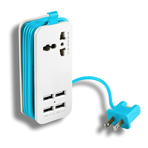 Portable Power Strip Travel Outlets, AGPtek 5V 21W 1Ax4 USB Ports 110V-220V Input Travel Outlets with 5-feet Power Supply Cord