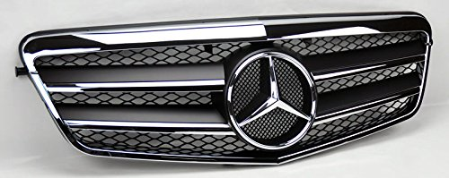 CPW (tm) Mercedes E Class W212 10-13 2 Fin Front Hood Sport Black Chrome Grill Grille For E350 E550 4DR (Sport Front Grill)