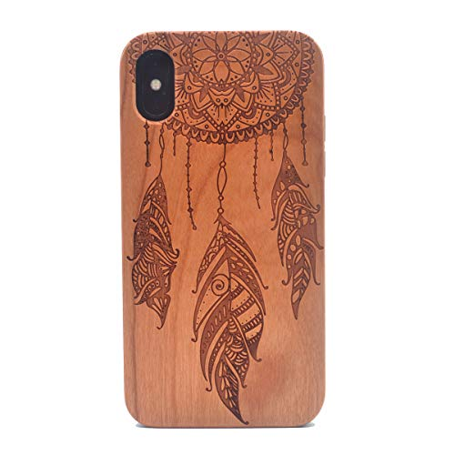 iPhone X/Xs Case, Dream Catcher Pattern Handmade Carving Real Wood Case Premium Hybrid Wooden Protective Cover Case for Apple iPhone Xs(2018), Also Compatible with iPhone X(2017) 5.8 Inch