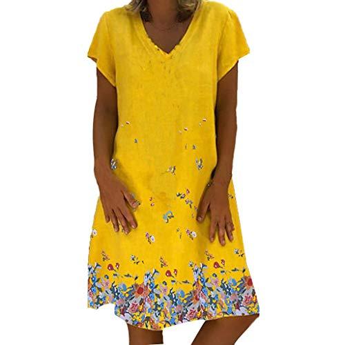 Women's VintagePrint Dress Causal Short Sleeve Mini Dress V-Neck Summer Dress Yellow ()