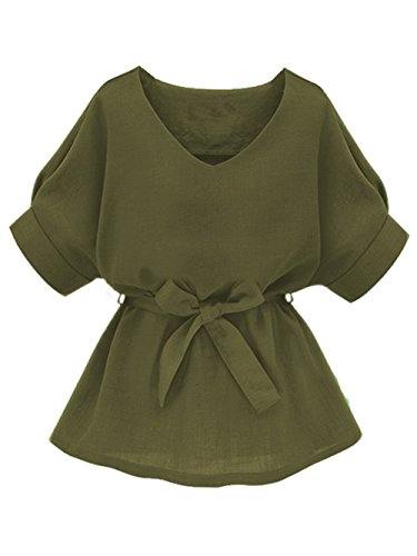 Milumia Women's V Neckline Self Tie Short Sleeve Blouse Tunic Tops Army Green Large
