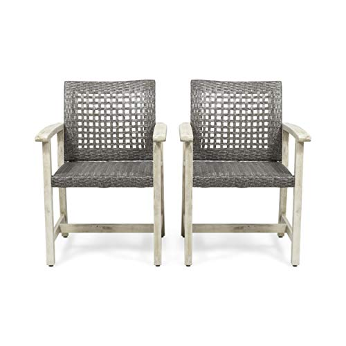 Eartha Outdoor Acacia Wood and Wicker Dining Chair (Set of 2), Light Gray Wash and Mix Black