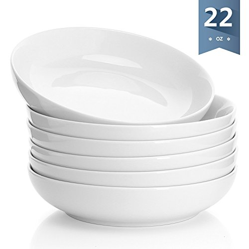 (Sweese 1309 Porcelain Salad/Pasta Bowls - 22 Ounce - Set of 6,)