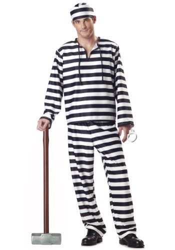 Men's Jailbird Prisoner Costume (Large/Black & White) -