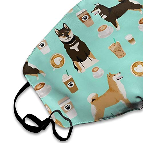 Shiba Inu Coffee Print Dog And Coffees PM2.5 Mask, Adjustable Warm Face Mask Unique Cover Filters Blocking Pollen Pollution Germs£¬Can Be Washed Reusable Pollen Masks Cotton Mouth Mask For Men Women