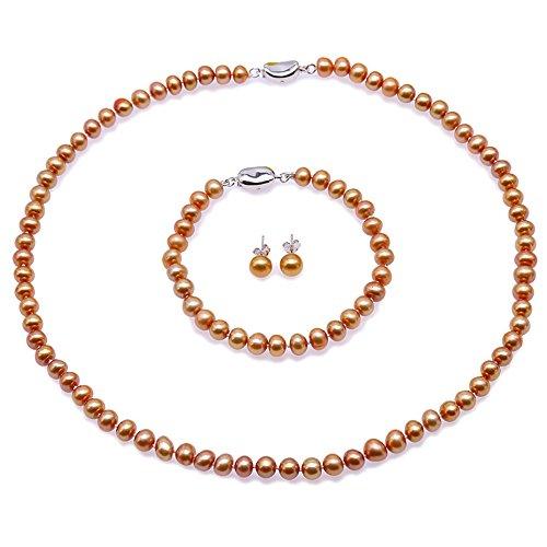 JYX Pearl Necklace 7-8mm Dark-Golden Freshwater Pearl Necklace Bracelet Jewelry Set (3 Set) ()