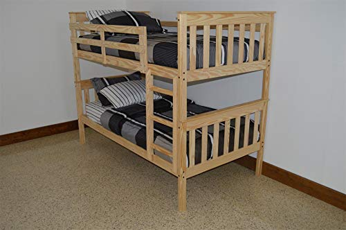 (DutchCrafters Amish Kids Twin Over Twin Bunk Bed, Unfinished Pine Wood)