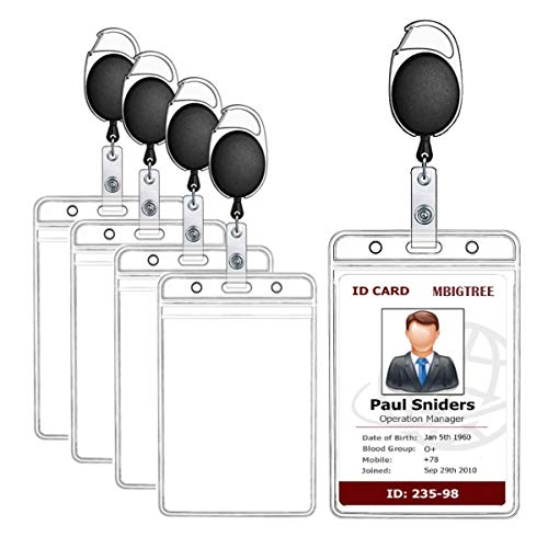 Badge Holder, MBigtree Vertical Heavy Duty Id Badge Holder Bus Card Holder with Retractable Carabiner Reel Clip for Office Company Employee School Student Bus Pass Id Card Clear