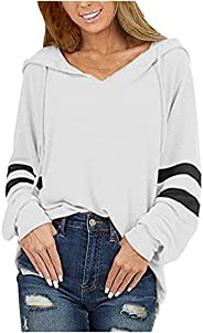 TIMIFIS Plus Size Hoodies for Women Long Sleeve Shirts Loose Fit Sweatshirts Fashion Tunic Tops Solid Color Pu