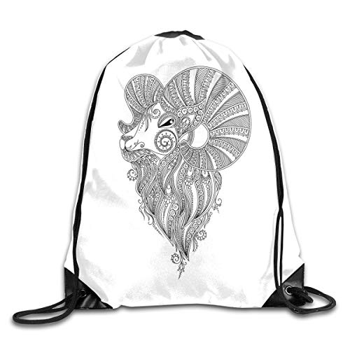 Drawstring Backpacks Bags,Rams Head In Henna Mehndi Tattoo Style Doodle With Ethnic Curly Artwork,5 Liter Capacity,Adjustable