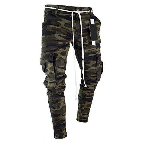 Men's Camouflage Black Gym Bodybuilding Pants Pockets Casual Trousers (Camouflage, S)