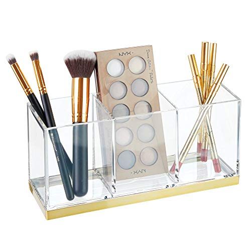Vanity Tote - mDesign Plastic Makeup Organizer Caddy Bin with 3 Sections for Bathroom Vanity Countertops or Cabinet: Stores Makeup Brushes, Eye and Lip Pencils, Lipstick, Lip Gloss, Concealers - Clear/Soft Brass