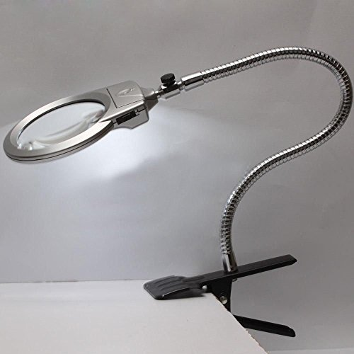 - New Lighted Table Top Desk Magnifier Magnifying Glass with Clamp