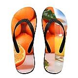 Couple Slipper Orange Fruit Juice Print Flip Flops Unisex Chic Sandals Rubber Non-Slip Beach Thong Slippers