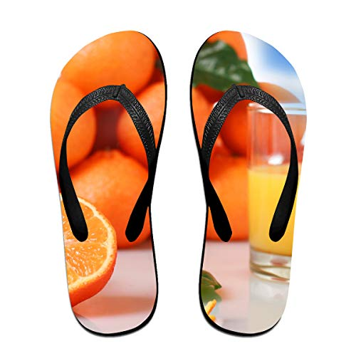 Couple Slipper Orange Fruit Juice Print Flip Flops Unisex Chic Sandals Rubber Non-Slip Beach Thong Slippers by Lojaon