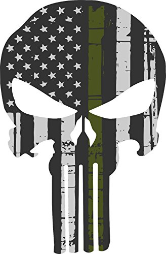 MAGNET Punisher Skull Olive Drab Military Flag Window Decal Vinyl Magnetic Sticker 4