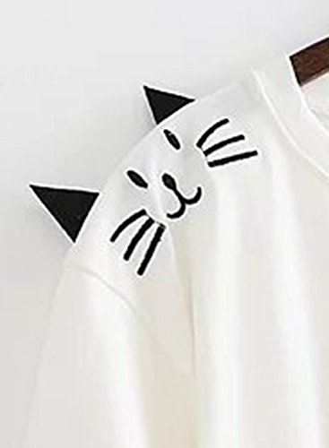 Azbro Mujer Camiseta Verano Mangas Cortas Estampado Dibujo Animado Blanco