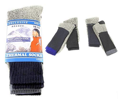 4 Pair Mens Thermal Boot Length Socks Keeps Feet Warmer Longer Ultimate Warmth