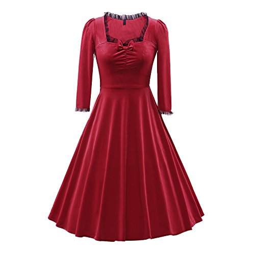 LUOUSE-Womens-Vintage-1960s-Velvet-Stretchy-34-Sleeve-Party-Dress