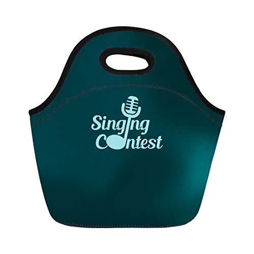 Semtomn Lunch Bags Music Singing Contest Best Publication Concert Awards Ceremony Dark Neoprene Lunch Bag Lunchbox Tote Bag Portable Picnic Bag Cooler Bag