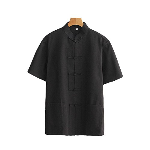 ZooBoo Men 's Tang Suit Summer Short - Sleeved Shirt Cotton Shirts (L, Black)