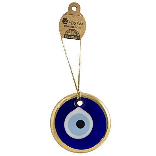 Gold Gilt Handmade Evil Eye Glass Charm decorative Turkish - Greek - Jewish - Christian ornament (3.5 inch)