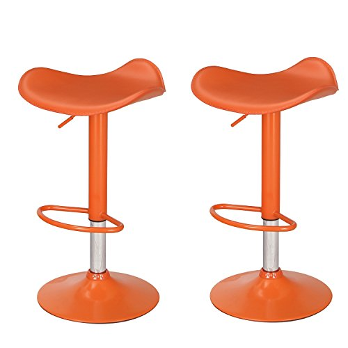 Home's Art Orange High Gloss Adjustable Backless Barstool Chrome Finish Pedestal Base (Set of two)