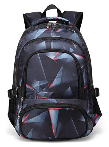 BLUEFAIRY Boys Backpacks for Kids Girls Primary School Bag Kindergarten Bookbags (Black,Red) (Best Backpack For First Grader)