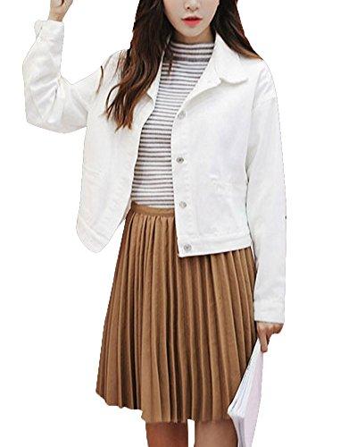 Mezclilla Denim Blanco Chica Mujer Fit Silm Cortas De Abrigo Chaquetas xzT60Tw