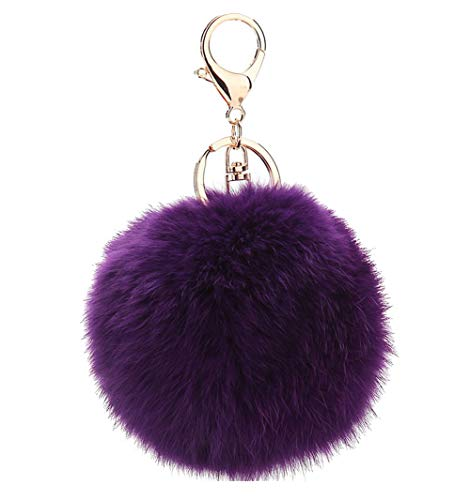 - Hair ball keychain bag pendant ornaments plush fox fur real fur ball handmade jewelry accessories Purple