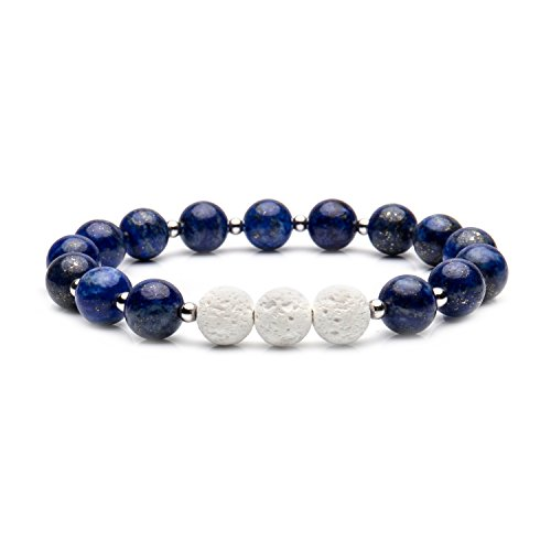 Price comparison product image Bivei Aromatherapy Lava Stone Essential Oil Diffuser Bracelet Semi Precious Gemstone Round Beads Crystal Bracelet(Lapis Lazuli)