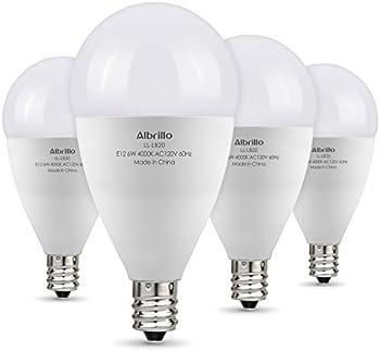 Albrillo 6-watt E12 Candelabra Non-Dimmable LED Light Bulb 4-Pk