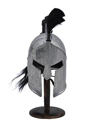 300 Spartan Steel Functional Helmet Roman Armor 14 Guage With Black Plume (Steel Roman Helmet)