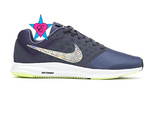 Amazon.com  Glitter Crystal Bling Navy Lime Nike Downshifter 7 Running  Women  Handmade cd57aa6aba78