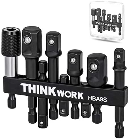 THINKWORK Impact Grade Socket Adapter Set, 9Pcs Drill Bit Extension Set with Magnetic Bit Holder and Storage Case