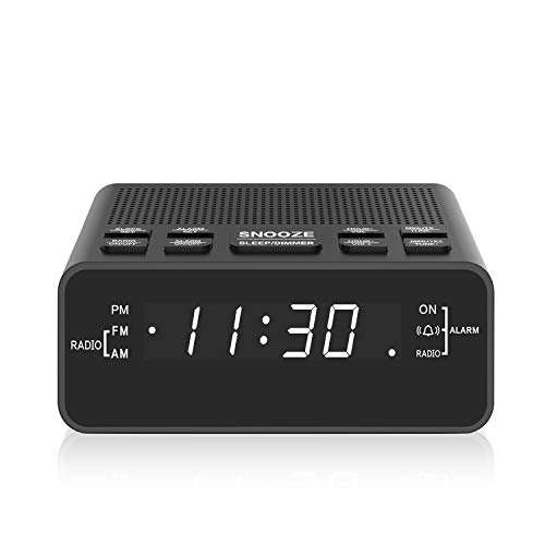 Alarm Clock Radio, Digital FM Radio Alarm Clock for Bedroom … (Black)