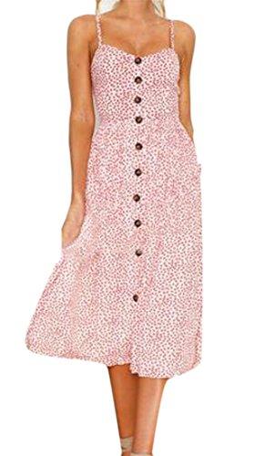 Swing Womens High Dress Strap Long Cromoncent Floral Waist Pink Details Spaghetti Button O8Rpq1