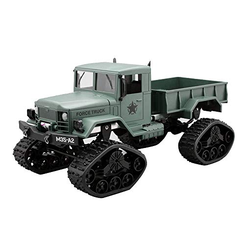 Vovomay Military Rock Racer - RC Military Truck Army 1: 16 4WD Tracked Wheels Crawler Off-Road Car RTR Toy New (Green) ()