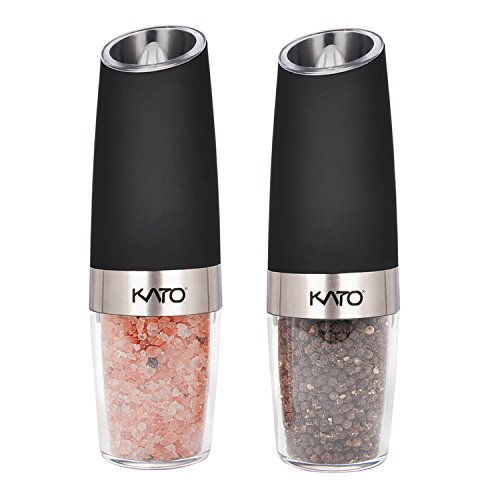 Set Automatic - Kato Gravity Electric Salt and Pepper Grinder Set - Automatic Operation, Battery Powered, Blue LED Light - Adjustable Ceramic Grinding Coarseness Mills with Free Garlic Peeler, 2 Pack, Black
