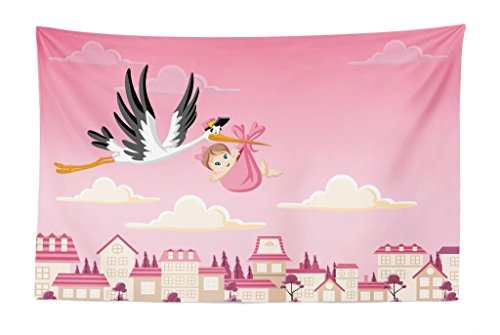 Stork Baby Girl Shower - Lunarable Baby Shower Tapestry, Stork Delivering a Baby Girl Newborn Cartoon Pink Shaded Sky Fairy Tale Design, Fabric Wall Hanging Decor for Bedroom Living Room Dorm, 45 W X 30 L inches, Multicolor