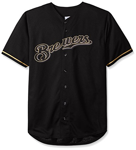 MLB Milwaukee Brewers Men's Short Sleeved Texture Replica Jersey with Pop Applique, 4X/Tall, Black